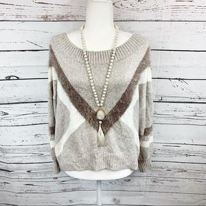 Express Tan Wide Crew Neck Oversized Sweater